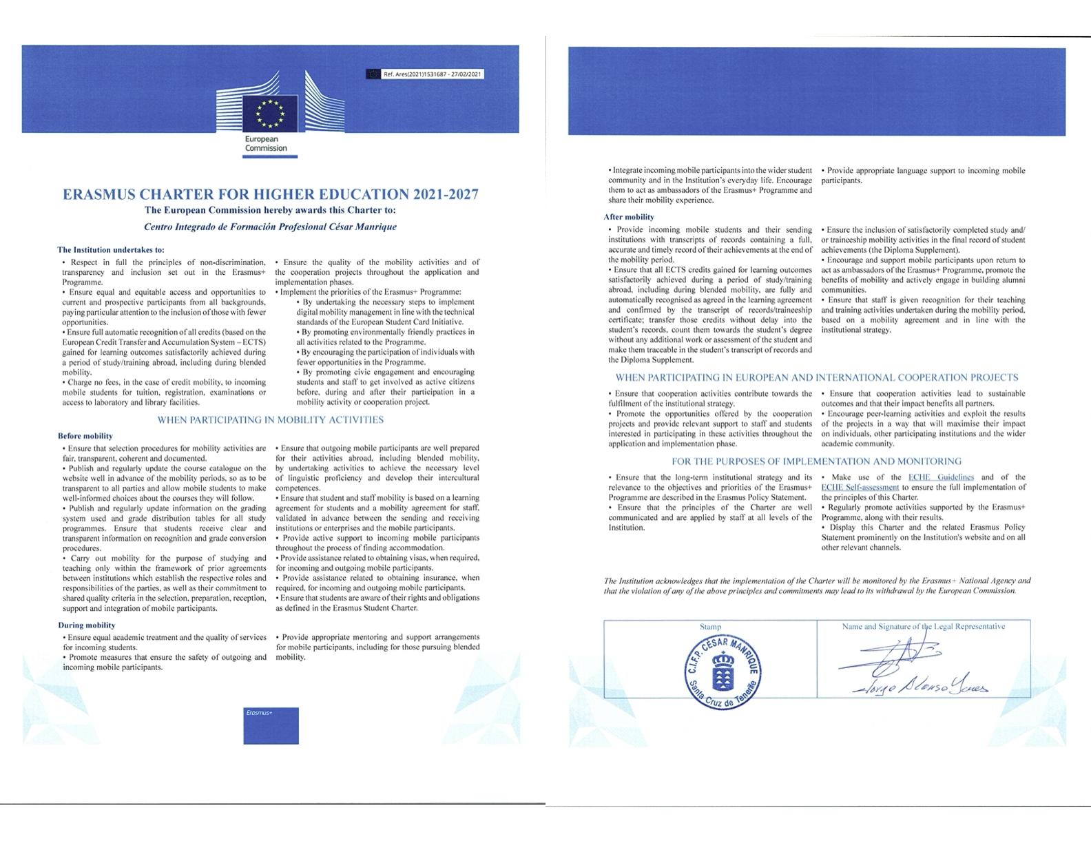 Erasmus ECHE Letter CIFP César Manrique